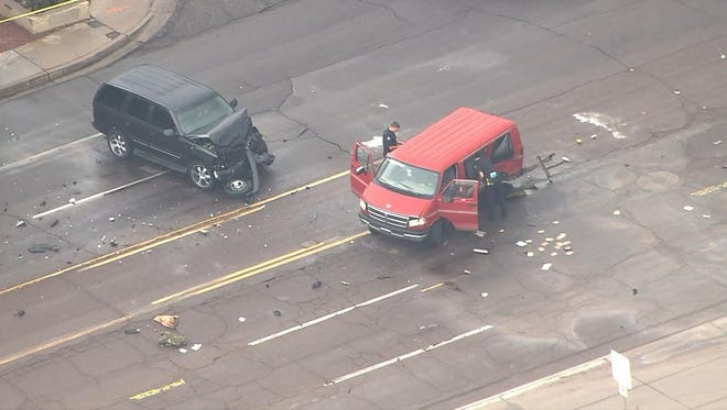 A picture taken from a helicopter over the scene of the accident.