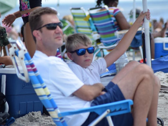 Walt Martin and his son, Andrew Martin, 11, of Williamstown