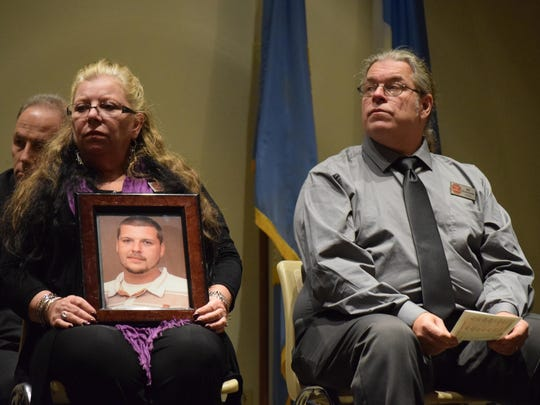 Tammy and Bill Schmincke of Egg Harbor Township are pictured during the 2017 MLK Community Spirit Awards presentation at the Atlantic County office building in Atlantic City. The Schminckes founded the Stop the Heroin organization after suffering the loss of their son, Steven, to a heroin overdose.