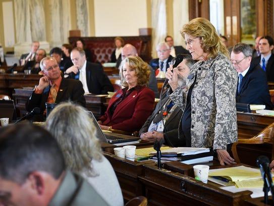 Nancy Ballance (R-Hamilton) addresses the full assembly