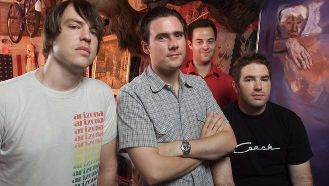 Jimmy Eat World from left to right are: Rick Burch, Jim Adkins, Tom Linton and Zach Lind. Photographed at Western Jewelry & Loan, Inc.