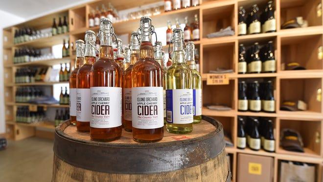 Tasting room inside Island Orchard Cider in Ellison Bay.