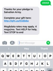 A screenshot of how to donate via text message.