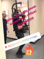 District Attorney Mark Gonzalez captures The Daily Show's visit on an Instagram story.