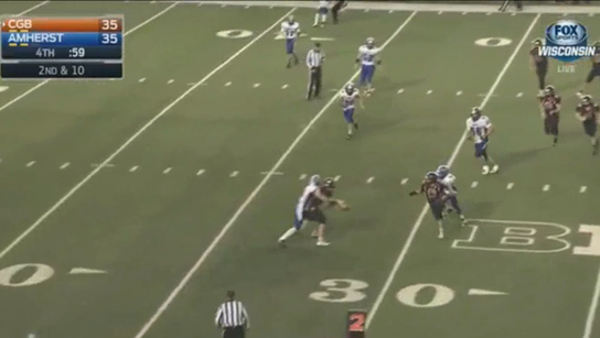 This pass was ruled a fumble and allowed Amherst to