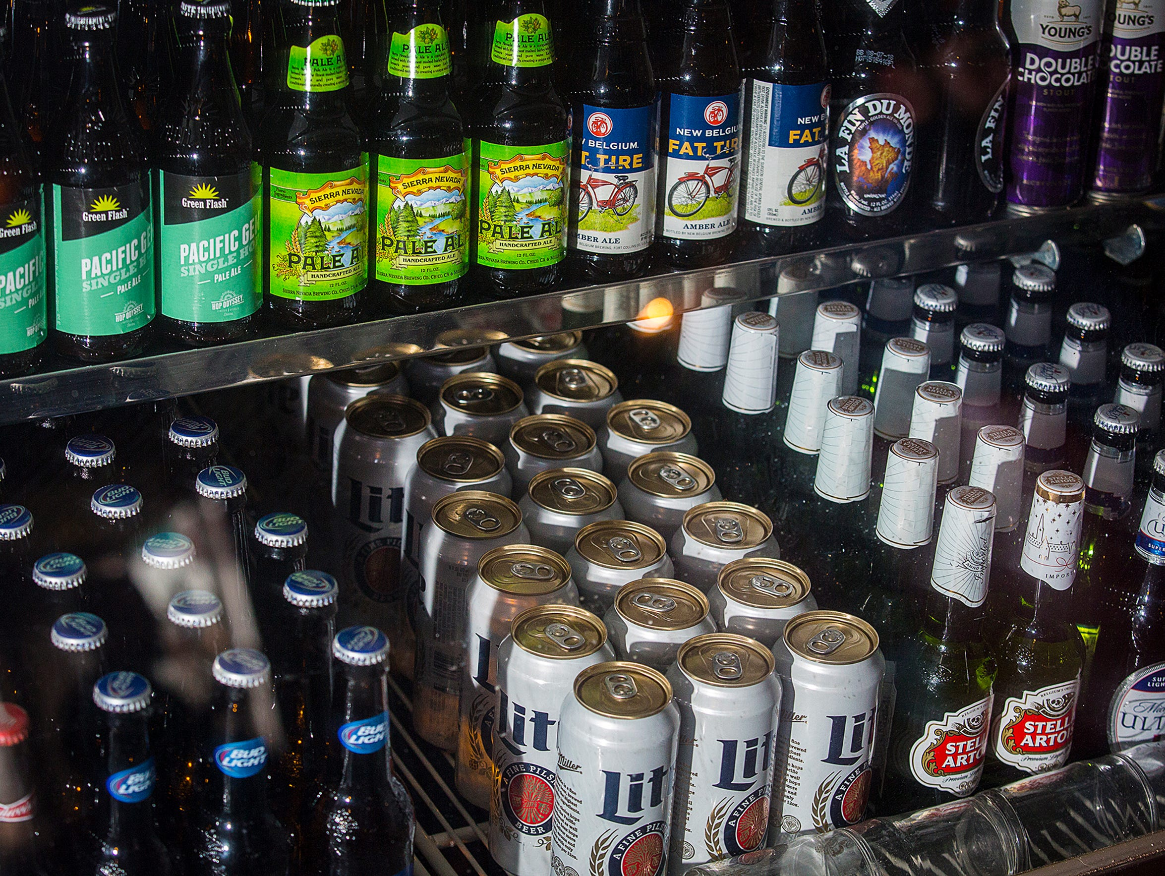 A beer selection at Savage's Ale House in Muncie.