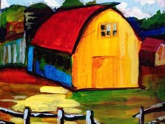 Yellow Barn painting by Nancy Viebrock will be displayed