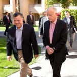 California Gov. Jerry Brown and King Abdullah II of Jordan meet in the Coachella Valley on Friday. They  discussed the drought and other issues of mutual concern.