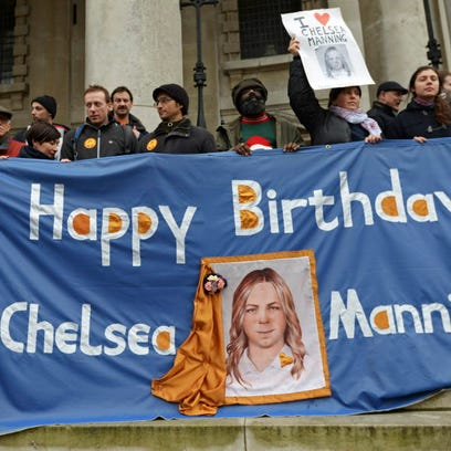 Chelsea Manning's supporters in London in 2014.