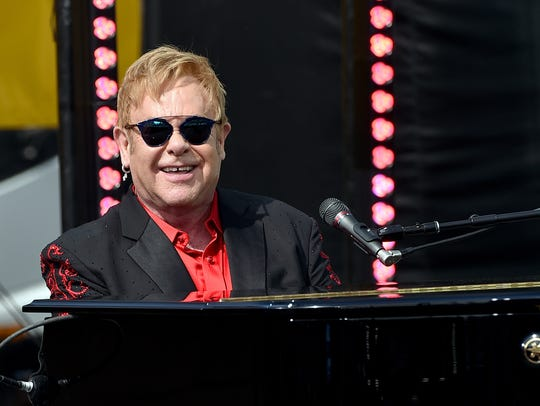Elton John performs live on the Sunset Strip, on Feb.