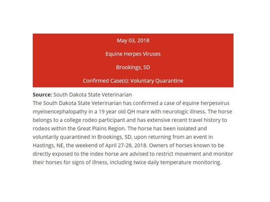The Equine Disease Communication Center issued an alert