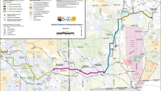 SunZia's current proposed route.
