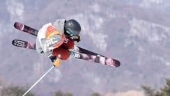 Brita Sigourney (USA) competes in the ski halfpipe