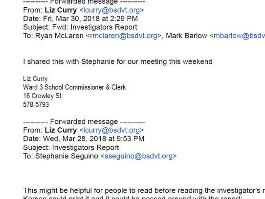 Email clip from Liz Curry to fellow board members on
