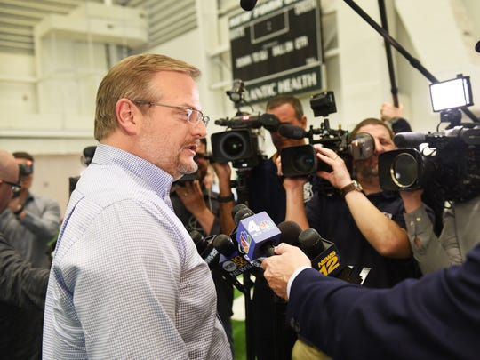 Jets GM Mike Maccagnan talks to the media about the upcoming NFL Draft during a news conference at the Atlantic Health Training Center in Florham Park on 04/23/18.