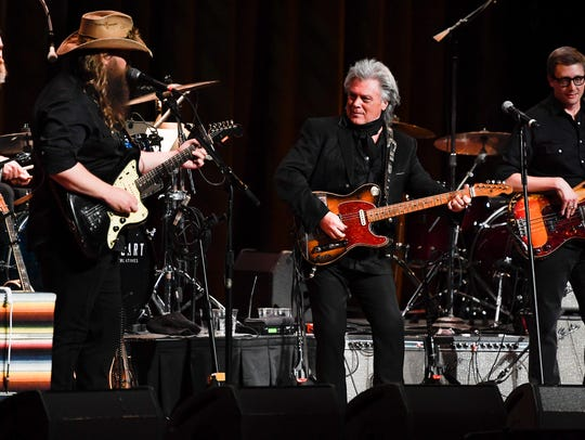 Chris Stapleton performs with Marty Stuart during the