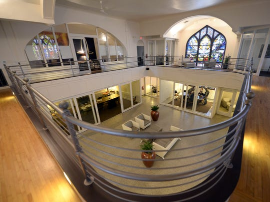 Interior of Arketype Inc. offices inside a former Presbyterian