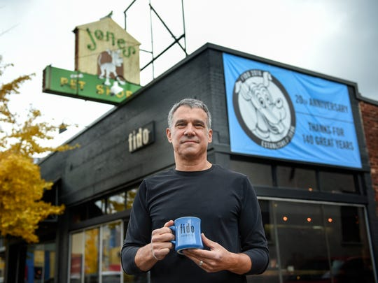 Bob Bernstein stands outside his restaurant Fido in 2016. Bernstein has multiple locations of Bongo Java in Nashville, but he's also opened single-site coffee shop/restaurants Fido and Box, vegetarian restaurant Grins and modern diner Fenwick's 300 in the 28 years since he became a small-business owner.