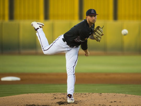 ASU's Alec Marsh (8) pitches against California during