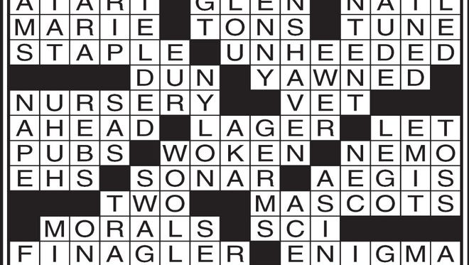 Answers to today's crossword puzzle