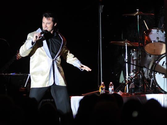 An Elvis impersonator performs during the Elvis Birthday