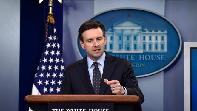 White House Press Secretary Josh Earnest speaks during the daily briefing at the White House June 13.