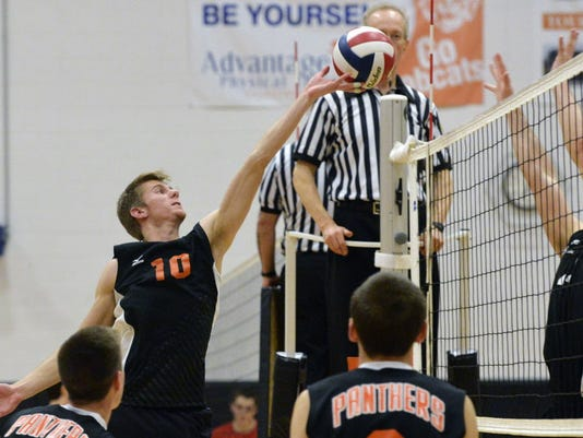 Central York's Royce Clemens sends the ball back to Schuylkill Valley in a quarterfinal-round game in the annual Bobcat Invitational on Saturday, March 29. (Daily Record/Sunday News   Chris Dunn)