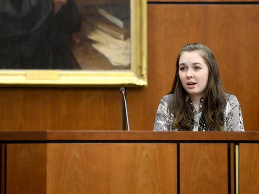 Shelby Spencer, 17, of Spring Grove, takes the stand as a witness during a mock trial competition against Littlestown at the York County Judicial Center in February. (Photo by Kate Penn)