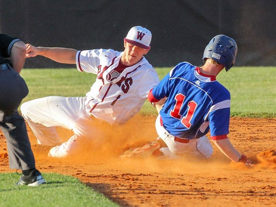 Westside's Hunter Marchbanks tags Riverside's Nathan Ingle stealing second base during the top of the fifth inning of the Class AAAAA District II championship at Westside High School in Anderson on Monday.