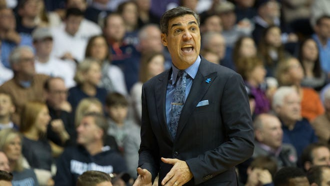 Villanova Wildcats head coach Jay Wright reacts during the second half against Butler.