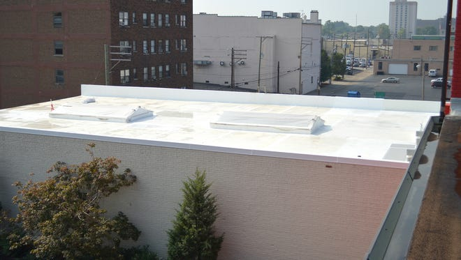 The white roof on Luckett & Farley Architects, Engineers & Interior Designers in downtown Louisville.