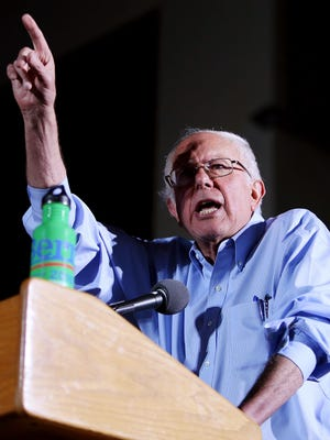 Democratic candidate for president Bernie Sanders drives home a point at his rally at the Reid Park DeMeester Outdoor Performance Center, 920 S. Concert Place, in Tucson Ariz. Photo taken Friday, Oct. 9, 2015.Mike Christy / Arizona Daily Star