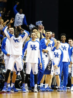 University of Kentucky celebrates during action against UCLA in their NCAA tournament Sweet Sixteen matchup at the FedExForum.