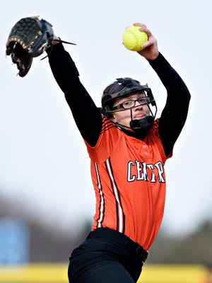 Central York softball pitcher Courtney Coppersmith pitched seven hitless innings on Saturday, getting all 21 of her outs by strikeout. YORK DISPATCH FILE PHOTO
