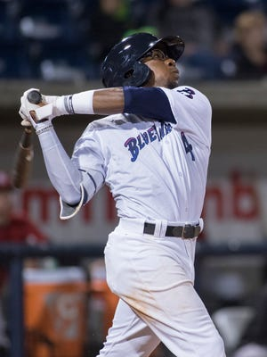 Shed Long (4) bats during the game between Birmingham Barrons and the Blue Wahoos in Pensacola on Tuesday, April 24, 2018.