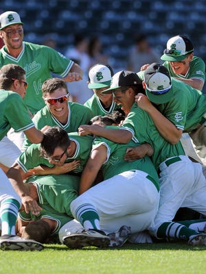 The Farmington Scorpions celebrate their 5-3 win over the Goddard Rockets in Saturday's 5A state baseball championship game at Isotopes Park in Albuquerque. FHS won its first state title since 2008.