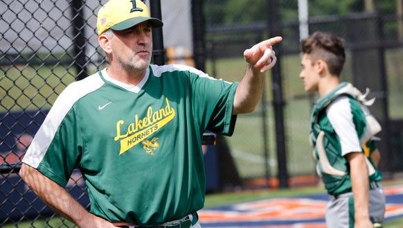 Lakeland High School baseball Coach Bill Casey during