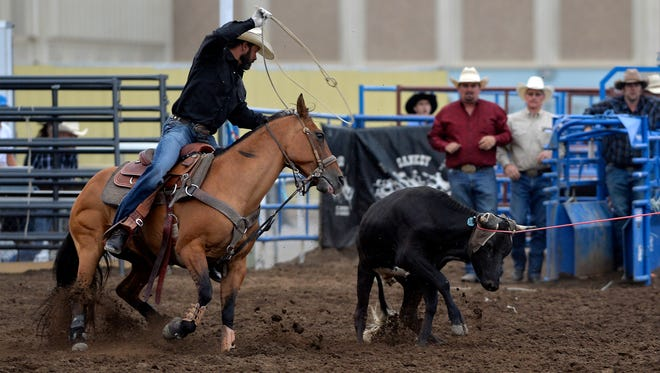 Cody Tew and Matt Robertson, pictured at the the Big Sky Pro Rodeo at the Montana State Fair last summer, took the opening round of the National Circuit Finals Rodeo in Florida Friday.