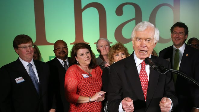 Sen. Thad Cochran speaks to supporters during his victory party after winning the Mississippi GOP primary runoff over state Sen. Chris McDaniel on June 24, 2014.