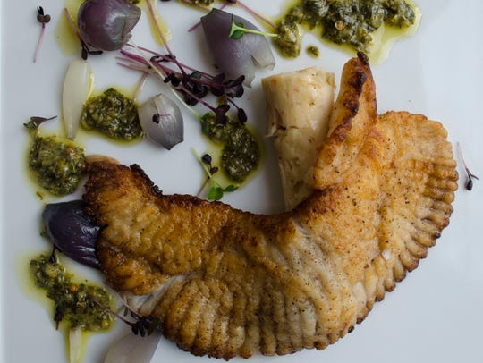 Local skate wing with scallop and crayfish sausage