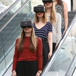 Westfield introduces world first Oculus Rift Virtual Reality headsets ahead of 'Future Fashion' an immersive pop-up experience at Westfield London on March 12, 2015 in London, England.  Future Fashion will take place at Westfield London from 27-29 March and Westfield Stratford City from 2-4 April.