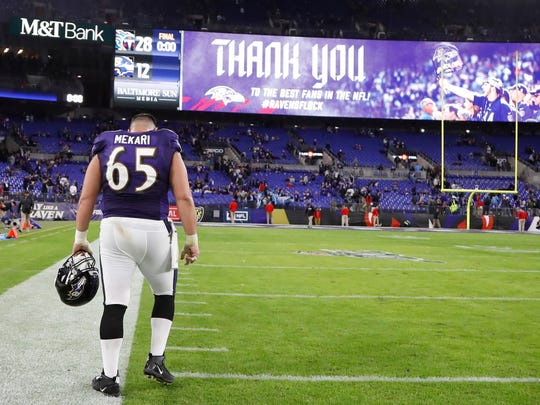 Ravens offensive guard Patrick Mekari, a Westlake High graduate, leaves the field after Baltimore lost to Tennessee in a divisional playoff game last Saturday night.