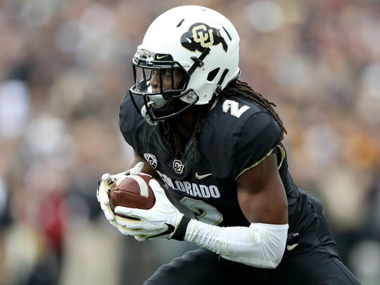 BOULDER, CO - OCTOBER 06:  Laviska Shenault, Jr #2 of the Colorado Buffaloes carries the ball in the second quarter against the Arizona State Sun Devils at Folsom Field on October 6, 2018 in Boulder, Colorado.  (Photo by Matthew Stockman/Getty Images)