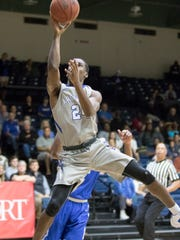 DJ Thorpe (24) shoots during the men's basketball game against Shorter University at the University of West Florida on Saturday, February 25, 2017.