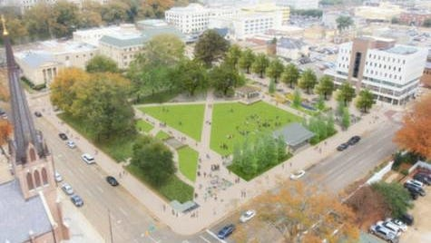 Friends of Smith Park is advocating for a major renovation to the downtown Jackson park. Shown is an artist's rendering of what the rejuvenated space could look like.