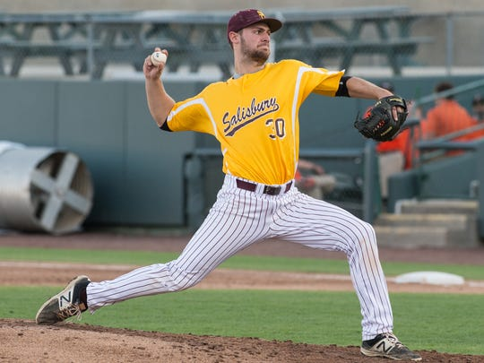 Salisbury University pitcher Simon Palenchar (30) throws a pitch during a game against the Delmarva Shorebirds on April 4, 2017.