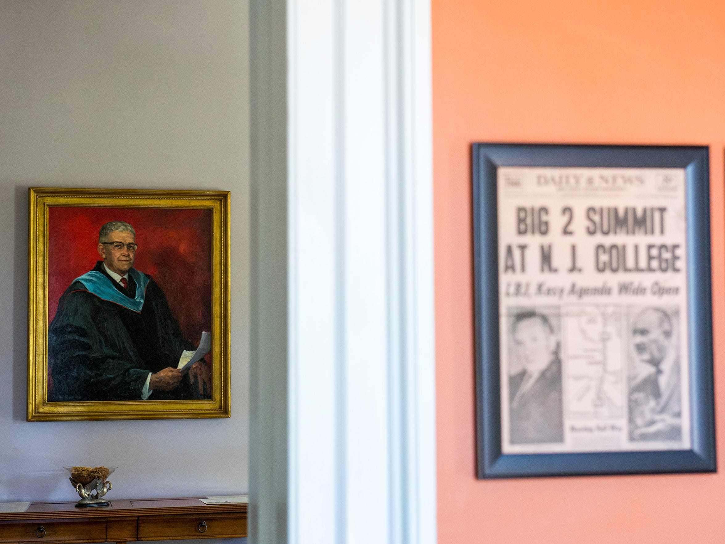 A painting of Dr. Thomas E. Robinson hangs inside the Hollybush Mansion Friday, June 9, 2017 at Rowan University in Glassboro. Robinson was president during the Johnson-Kosygin summit in 1967.