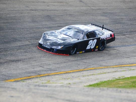 Erik Jones, NASCAR's most recent Cup Series winner, practices Monday at Slinger Speedway