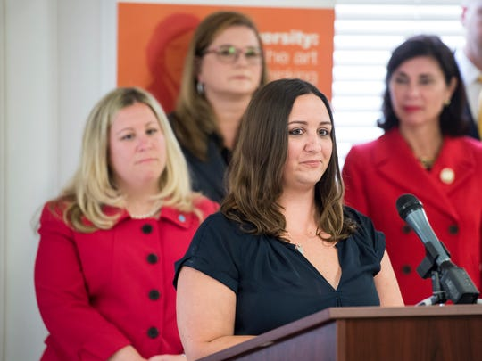 Alecia Arnold speaks during a press conference promoting House Bill 175 at the Hanover YWCA on Tuesday, August 8, 2017. The legislation is sponsored by Rep. Kate Klunk (R- Hanover) and aims to help prevent domestic violence. Arnold's mother Barbara Schrum, and her friend Laurie Kuykendall, were murdered by Laurie's estranged husband in 2015.