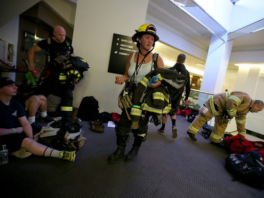 Jaunitta Lang after completing the 2017 Scott Firefighter Stairclimb at the Columbia Center tower in Seattle.